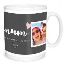 Mum Double Image Heart Mug