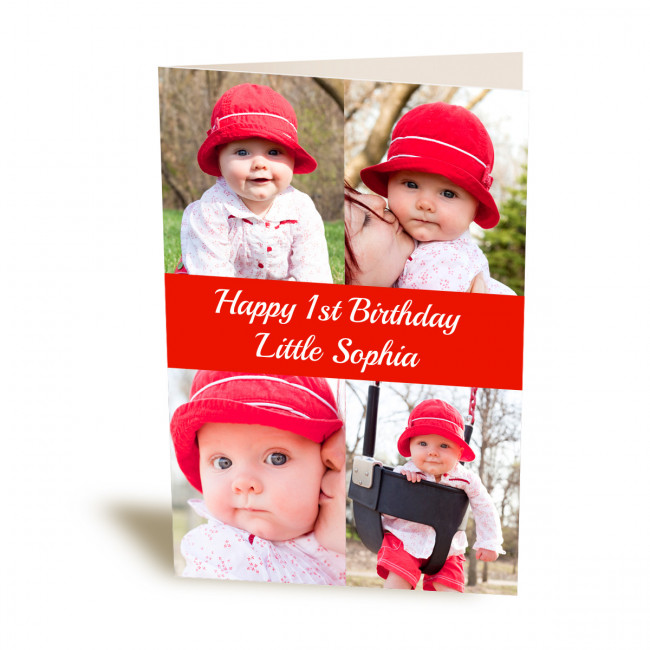 Personalised 4 Image Banner Collage Card Maidstone